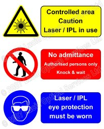 laser safety warning triangle on a fibre optic patch panel